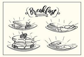 ställa in läcker frukost med protein del vektor
