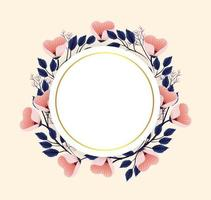 cirkel blommor växter med cirkel etikett vektor