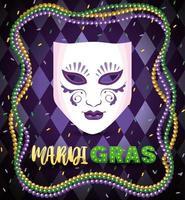 kostymmask och halsbandskulor till mardi gras firande