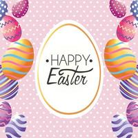 Fröhliche Ostern, Aufkleberdekoration mit Ostereiern zum Ereignis