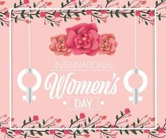 kvinnor undertecknar hängande med rosor till kvinnodagen