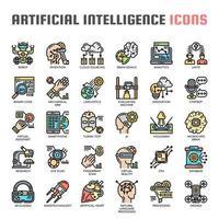 Künstliche Intelligenz Thin Line Icons