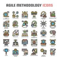 Agile Methodik Thin Line Icons vektor