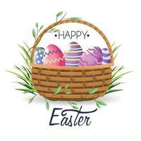 Glückliche Ostern-Ostereidekoration innerhalb des Korbes mit Gras