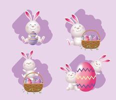 ställa in söt kanin med korg och äggdekoration vektor