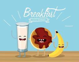lyckligt mjölkglas med kaka och banan vektor