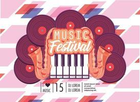 Diskotheken mit Klaviertastatur zum Musikfest vektor