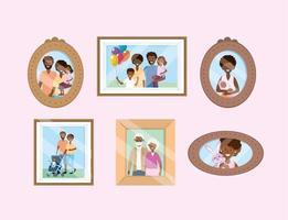 uppsättning porträtt med familjebilder minnen