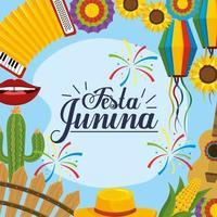 tradition dekoration till festa junina firande vektor