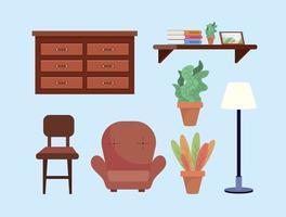 uppsättning vardagsrumsdekoration med byrå och stol