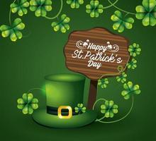 hatt med klöver och träemblem till St Patrick-evenemang