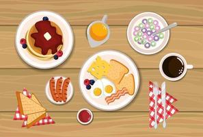 leckere Pfannkuchen mit Spiegeleiern und geschnittenem Brot vektor