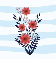 söt natur blommar växter med blad
