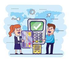 kvinna och man med kreditkort och datafon
