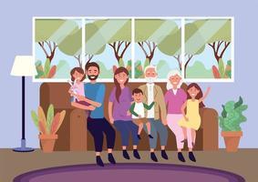 morföräldrar med kvinna och man med barn i soffan
