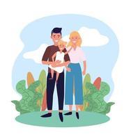 kvinna och man par med deras söta dotter