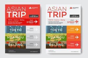 Företags affärsmall med asiatiska resetema vektor