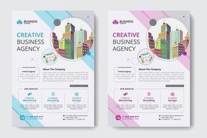 Firmenkundengeschäft-Schablone mit Pastellfarben und Gebäuden im Kreis-Ausschnitt vektor