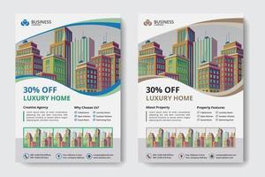 Företags affärsmall med flerfärgad vågig klippning och byggnader vektor