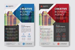 Röd och blå företagsaffärsmall med geometriska utklipp och byggnader