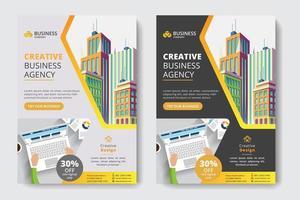 Företags affärsmall med kontorsarbetare och byggnad