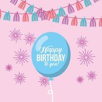 gratulationskort med ballong, vimpel och fyrverkerier