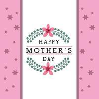 mors dag banner med blommor och rosa stjärna mönster