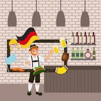 oktoberfest feier mit mann hält bier von rahmen mit deutschen elementen umgeben vektor