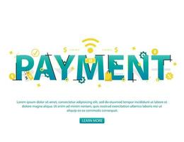 Kontaktlöst betalningskoncept med betalningstext och ikoner