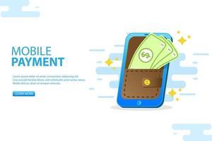 Smartphone-Zahlung. Smartphone mit kontaktlosem Bezahlen vektor