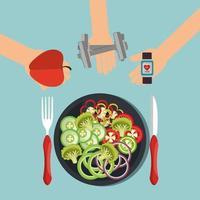 Smartwatch med hälsosam livsstilsikoner