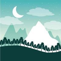 Fernweh Reiselandschaft mit Bergen, Bäumen und Mond vektor