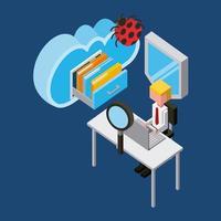 Geschäftsmann, der am Schreibtisch mit Datenverarbeitungsikonen des Virus und der Wolke arbeitet