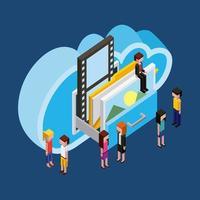 Menschen Cloud-Computing-Speicher vektor