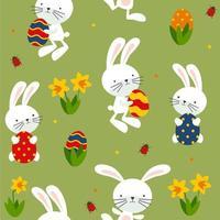 Seamless mönster av roliga kaniner, ägg och blommor.