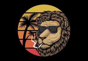 Löwe, der über Retro- Sonnenuntergang raucht