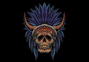 Schädel Indianer mit Hörnern vektor