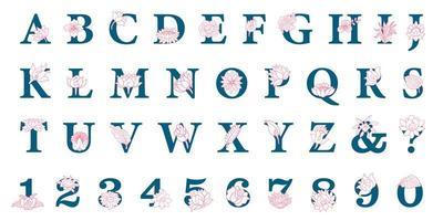 Hand gezeichnetes elegantes Alphabet mit Blumen vektor