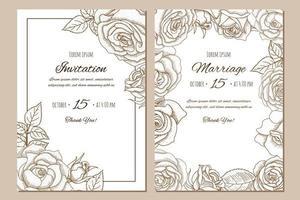 Satz der gezeichneten Hochzeitseinladung der Weinlese Hand mit Rosen. vektor