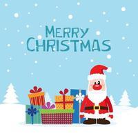 Julkort med jultomten och gåvor på snön