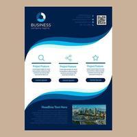 Einfaches blaues gewelltes Design eine Seiten-Geschäfts-Broschüren-Schablone
