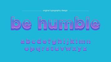 Konstnärligt teckensnitt för blått till lila lutningstecknade serier