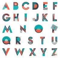 Färgglada abstrakta former konstnärliga teckensnitt design vektor