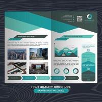 Modern grön och grå diagonal linje broschyr mall