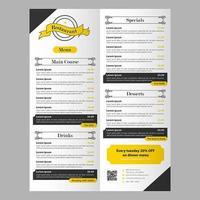 Bearbeitbare schwarz-gelbe Restaurant Food Menüvorlage mit Banner