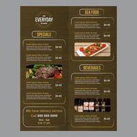 Restaurant-Lebensmittelmenü mit hölzernem Hintergrund und rauen Bürstenanschlägen vektor