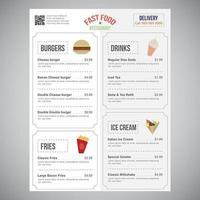Schnellrestaurant-Menü übersichtliches Design mit Lebensmittel-Ikonen vektor