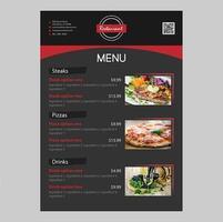 Svart bakgrund Restaurangmatmeny Redigerbar design med grova penseldrag