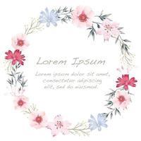 Akvarell blommaram med textutrymme.
