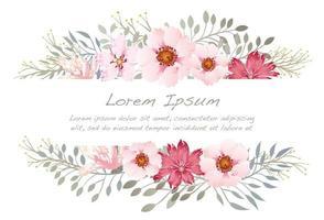 Akvarell blommabakgrundillustration med textutrymme.